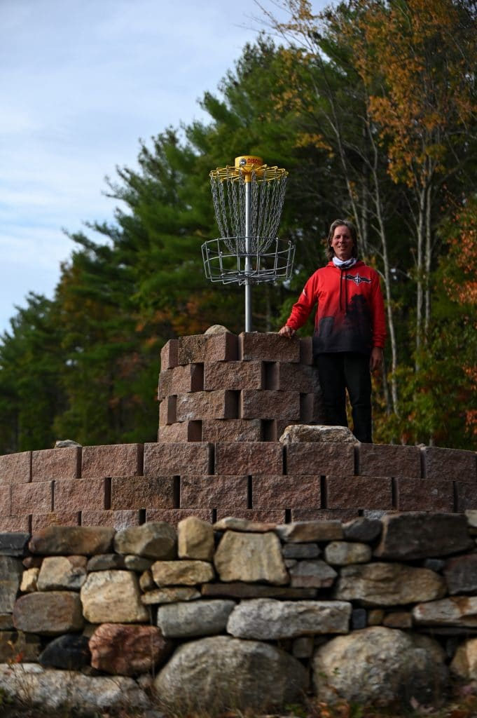 Marty posing at Top o' the hill disc golf course