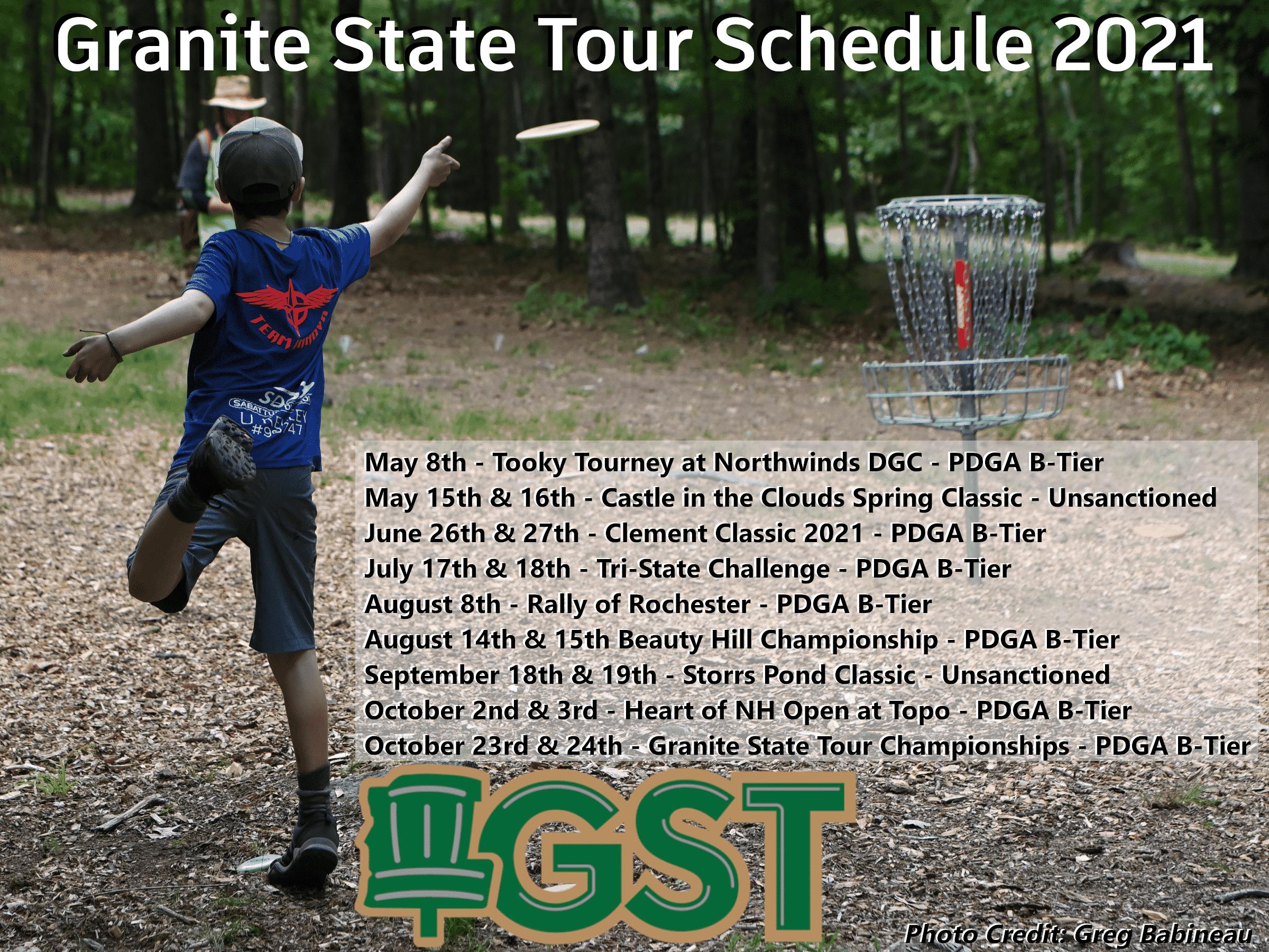 Tour schedule 2021 Granite State disc golf Tour